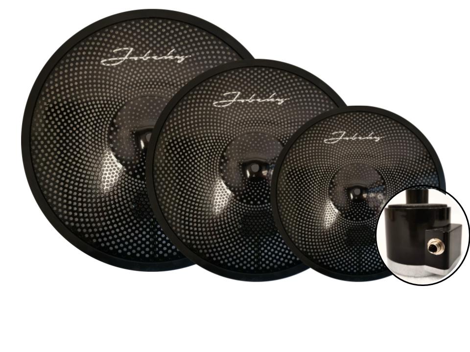 14 16 18 jobeky black stealth low volume real feel electronic cymbal set hats crash ride. Black Bedroom Furniture Sets. Home Design Ideas